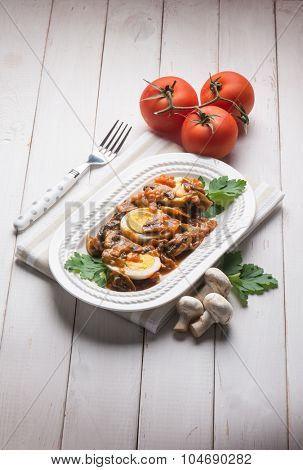 boiled eggs with mushroom