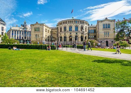 OSLO, NORWAY - 21 JUNE, 2015 -Parliament of Norway Oslo in beautiful spring