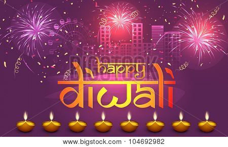 Stylish text Happy Diwali with illuminated lit lamps on fireworks decorated urban city background, can be used as poster, banner or flyer for Indian Festival of Lights celebration.