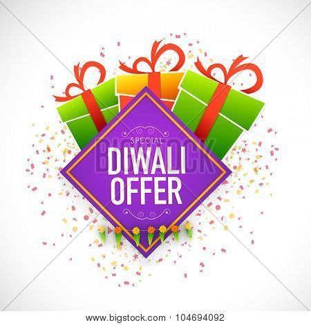 Creative poster, banner or flyer design with shiny colourful gift box and ribbon for Special Diwali Offer.