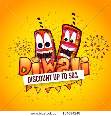 Creative poster, banner or flyer design with funny firecrackers for Diwali Sale on yellow background.