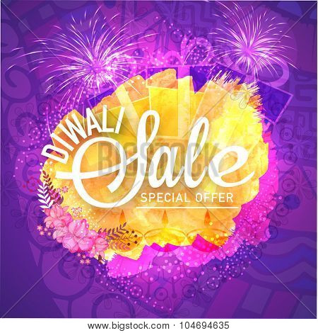 Creative poster, banner or flyer of Diwali Sale with Special Offer on floral design and firecrackers decorated background.