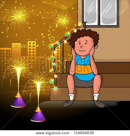 Cute little boy enjoying firecrackers on creative shiny urban city background for Indian Festival of Lights, Happy Diwali celebration.