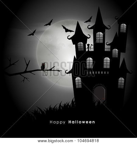 Happy Halloween Party celebration with scary haunted house and flying bats on horrible night background.