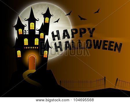 Creative scary haunted house on horrible night background for Happy Halloween Party celebration.