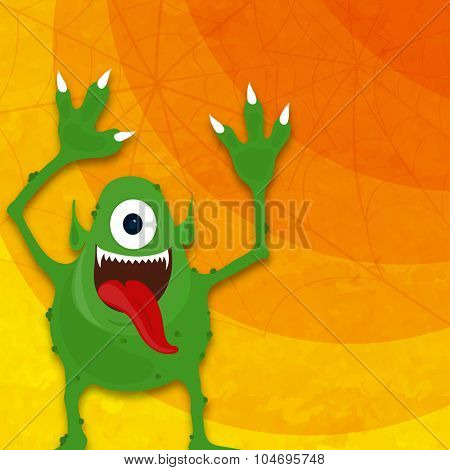 Horrible green monster on spider web background for Happy Halloween Party celebration.
