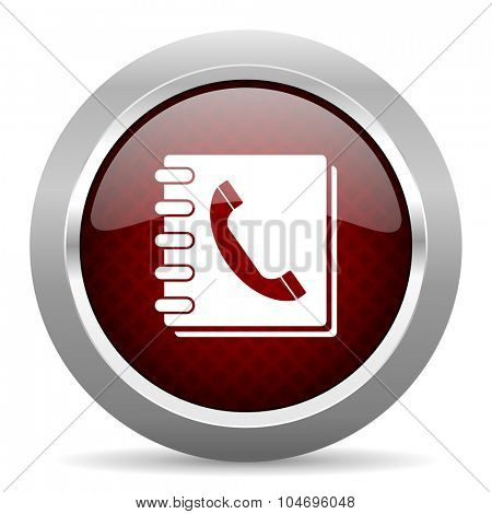 phonebook red glossy web icon