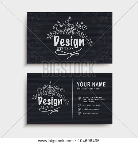 Floral design decorated, horizontal business card, visiting card or name card with front and back view.