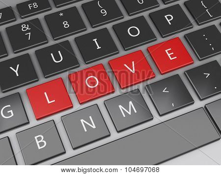 3D Computer Keyboard With Love Buttons.