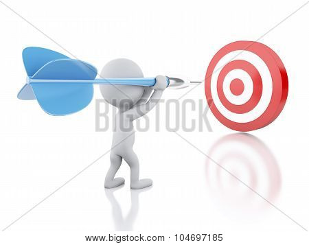 3D White People With Dart And Target. Success In Business.
