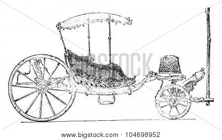 Carriage eighteenth century, vintage engraved illustration. Industrial encyclopedia E.-O. Lami - 1875.