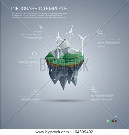 Wind farm on floating island. Renewable energy industry infographics template in modern low poly des
