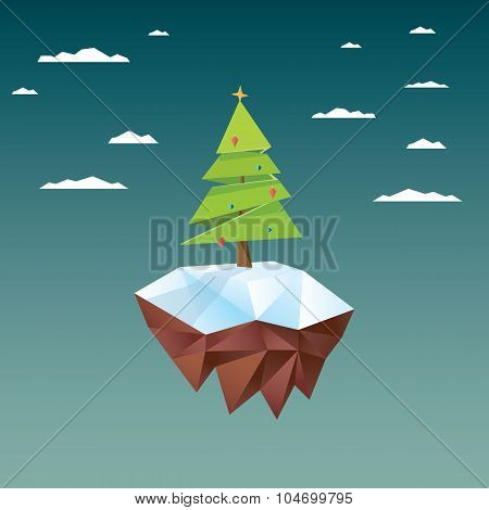 Low poly christmas tree on polygonal floating island. Holiday vector background.