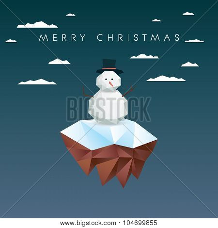 Low poly snowman on polygonal floating island. Christmas card template.