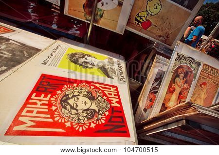 Vintage posters of movies on the sale of flea market