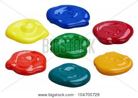 Set of multicolor paints, isolated on white background