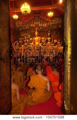 The Thai Buddhist Monks Chanting In Wat Phanan Choeng,Ayutthaya,Thailand.