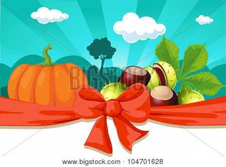 Autumn Still Life With Pumpkin And Chestnuts - Vector