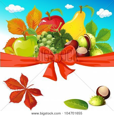Autumn Still Life With Fruit, Vegetables And Chestnuts - Vector