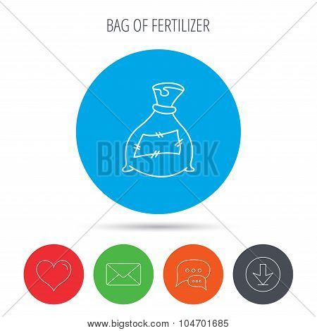 Bag with fertilizer icon. Fertilization sack.