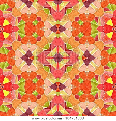 Orange Floral Stone Marble Regular Mosaic Seamless Pattern Texture On White Grout