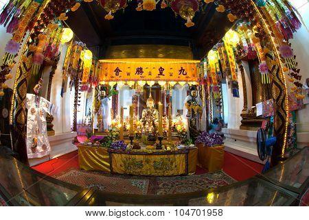 The Golden Buddha In Wat Phanan Choeng,Ayutthaya,Thailand.