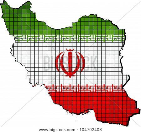 Iran Map With Flag Inside