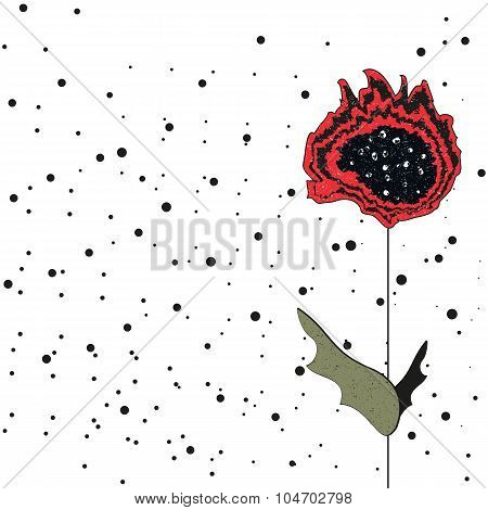 Red Poppy Grungy Art Print.