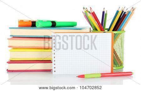 School equipment isolated on white