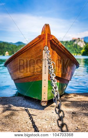 Detail Of Anchored Wooden Tourist Boat On Shore Of Bled Lake, Slovenia