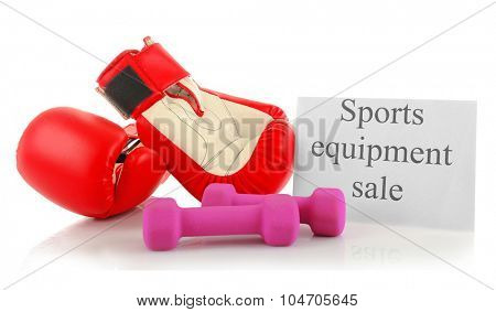 Sport goods for sale, isolated on white