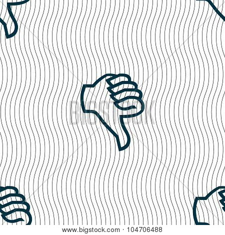 Dislike Sign Icon. Thumb Down. Hand Finger Down Symbol. Seamless Pattern With Geometric Texture. Vec