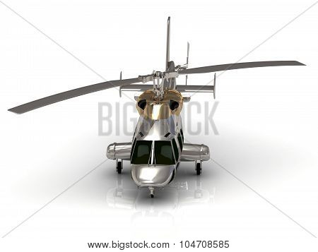 Front View Of Silver Helicopter