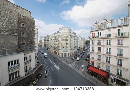 PARIS, FRANCE - SEP 11, 2014: The view from the window to the street Rue La Fayette in Paris, top view