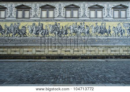 Fuerstenzug (Procession of Princes) is a giant mural in the old town of Dresden, Germany