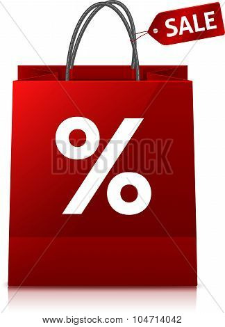 Red glance shopping bag with big white percent sign and sale tag