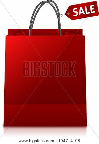 Red glance shopping bag with sale tag
