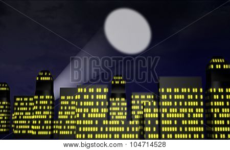 illustration of city at night with a spot light or bat signal