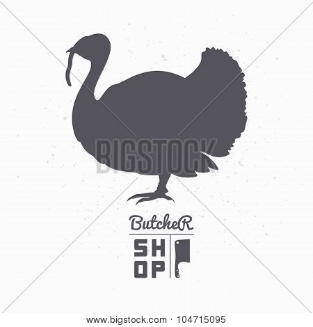 Farm bird silhouette. Turkey meat. Butcher shop template