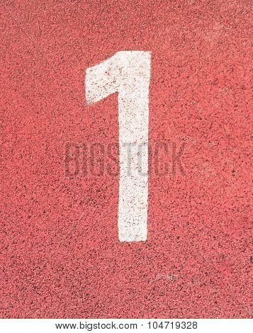 Number One,white Track Number On Rubber Racetrack, Texture Of Running Racetracks In Small Stadium.