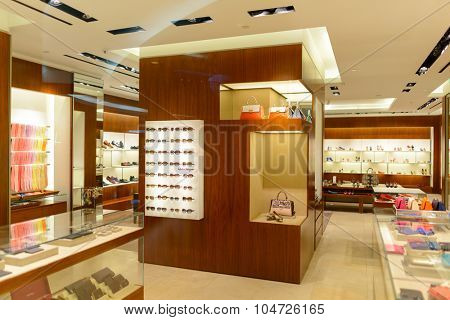 KUALA LUMPUR, MALAYSIA - APRIL 23, 2014: boutique interior in Suria KLCC shopping mall in Petronas Twin Towers. Suria KLCC is one of the largest shopping malls in Malaysia