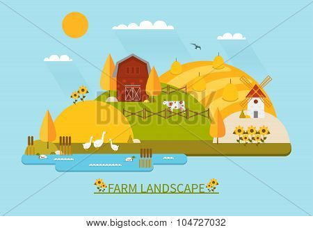 Flat farm landscape illustration with farmhouse, fields, pond, sunflowers and farm animals