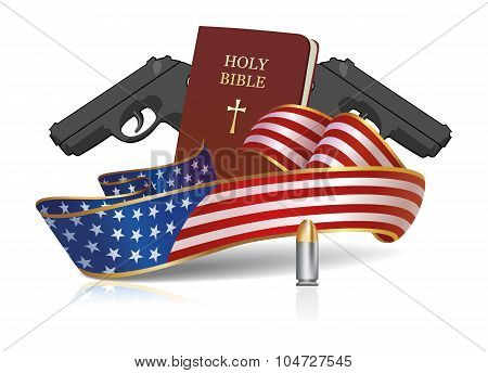 Holy Bible And Guns With American Flag Ribbon