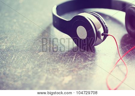 the vintage shot of headphones