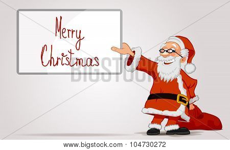 Santa Holding In Hands A Frame And Bag