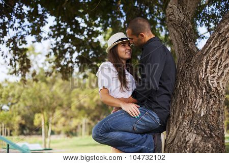 Passionate couple dating at the park