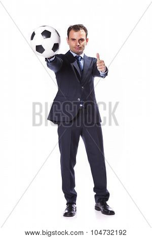 Businessman manager holding a soccer ball