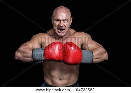 Angry bald boxer with punching gloves against black background