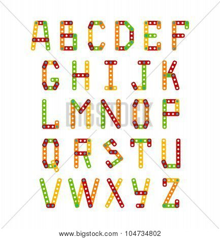 Colorful alphabet set. Vector typeface. Uppercase letters created with elements of constructor