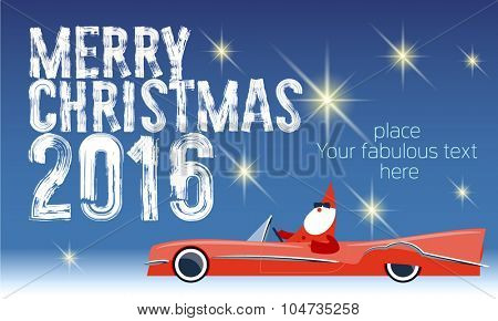 Vector Merry Christmas greeting card with Santa Claus rides cabriolet and text with handwritten brush font. With place for your fabulous greeting  text